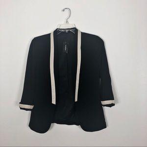 Express Black Open Blazer Jacket White Trim Size 2